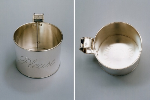 measure    2003-05 engraved sterling silver with painted canvas cloth, 5.5 x 6.125 x 8.25 inches (cup)