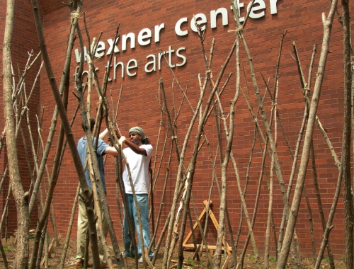 Setting bean poles, spring 2006