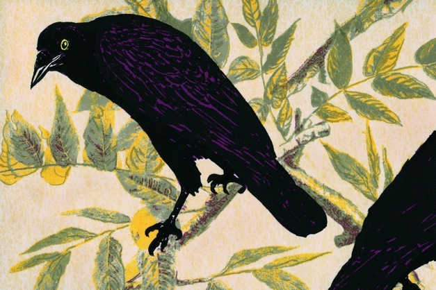 Birds of America  (wallpaper detail) 2000 hand screen print on silk wallpaper roll, 36 inches wide