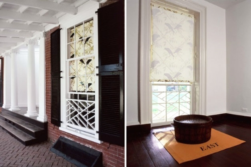 In My Father's House (Pavilion IX, University of Virginia) 2000 printied window shade, wood tub with bronze casting, floor cloth, dimensions vary