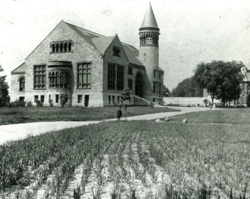 OSU Orton Hall with crop planting,circa 1889
