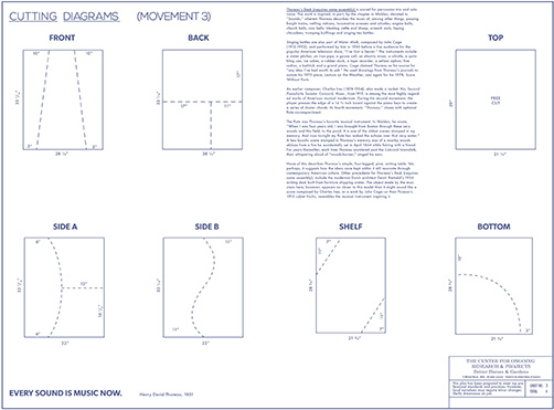Thoreau's Desk  plan and score   print on paper, page 2 of 4, 22.75 x 30 inches each