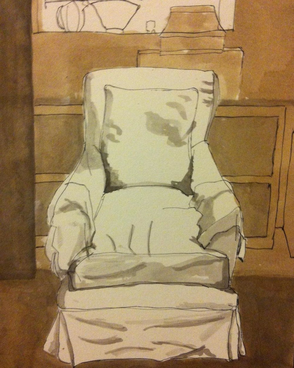 Dermot Meagher - White Chair and Ottoman