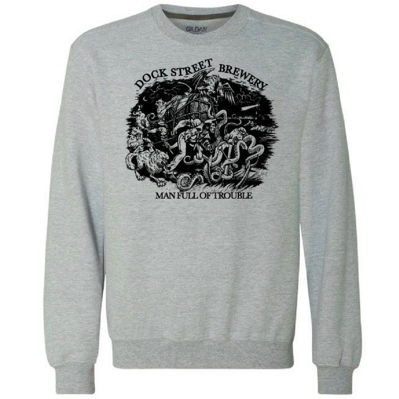 84e96f6e3db2 Dock Street Brewery Crewneck Sweatshirts in Grey Black — Dock Street Brewery