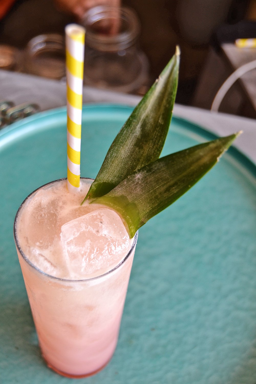 AMERICAN FLAMINGO Go birds. Aquavit, Funky Rm, Passionfruit Liqueur, Jackfruit-Coconut Syrup, Lime Juice. Topped with Dock Street Summer in Berlin. $12