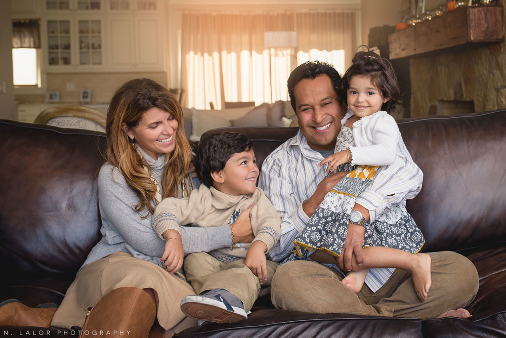 Naturally styled family portrait in Greenwich Connecticut by N. Lalor Photography.