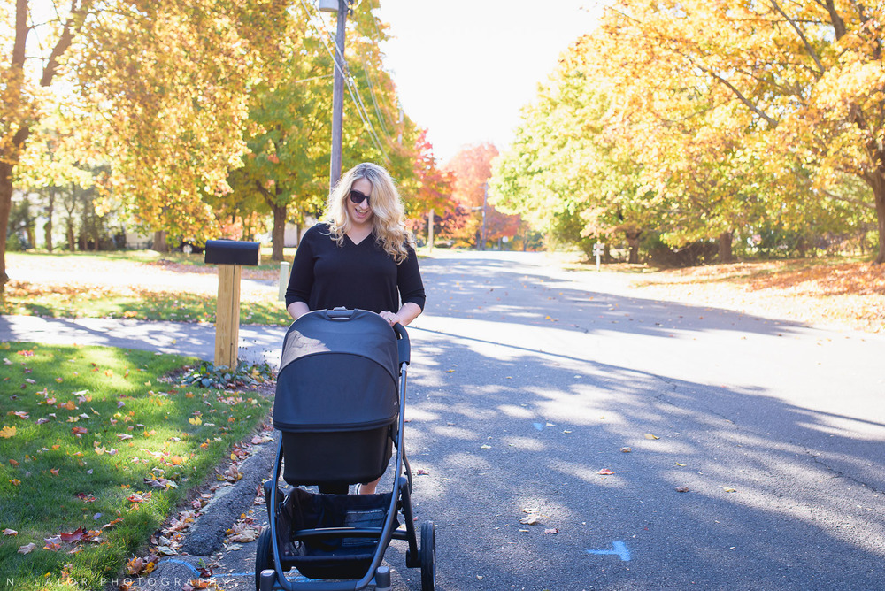 Going for a stroller walk with baby. Lifestyle portrait by N. Lalor Photography.
