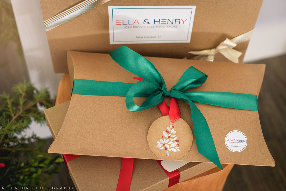 The perfect Holiday gift wrapping at Ella & Henry Children's Store in New Canaan. Photo by N. Lalor Photography.