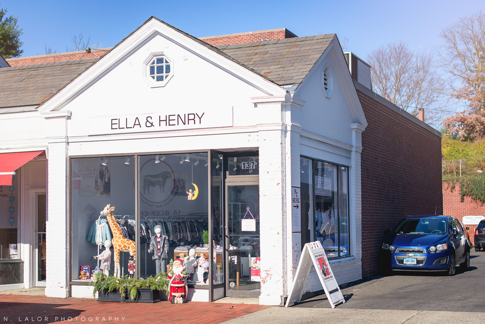 Exterior of Ella & Henry, a kids clothing store in New Canaan Connecticut. Photo by N. Lalor Photography.