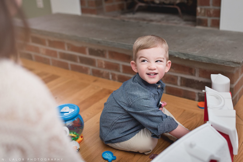 That face! Lifestyle at home family session by N. Lalor Photography.