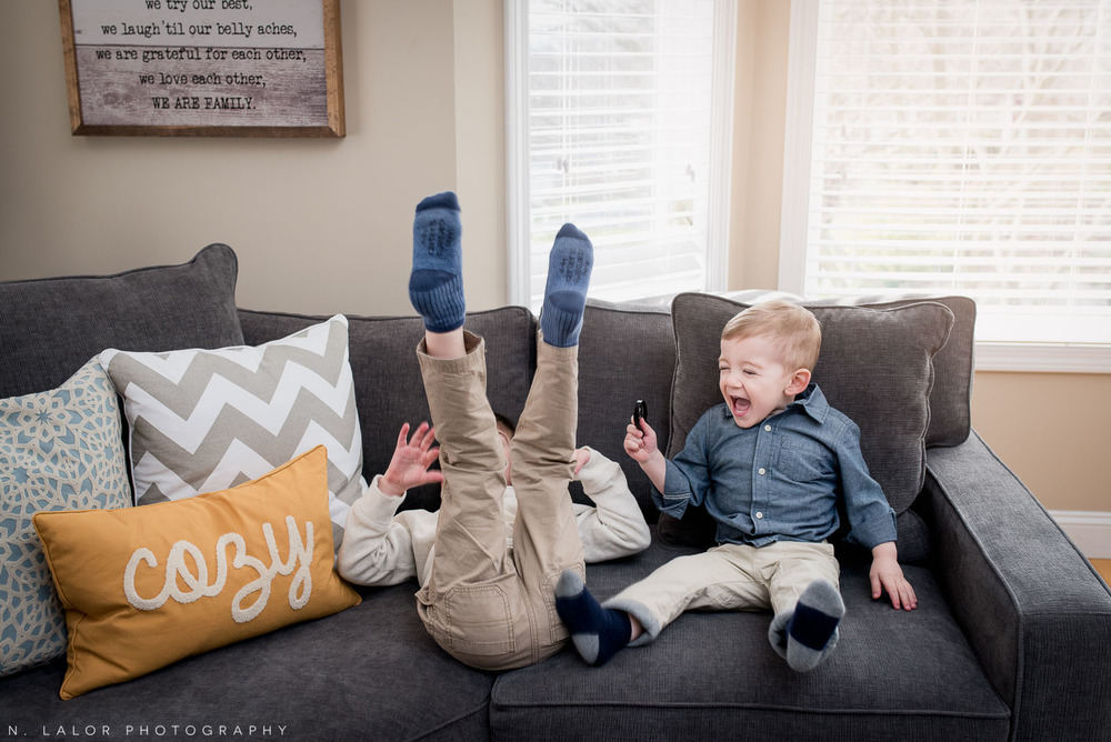 Brothers being silly! Lifestyle family photography by N. Lalor Photography.