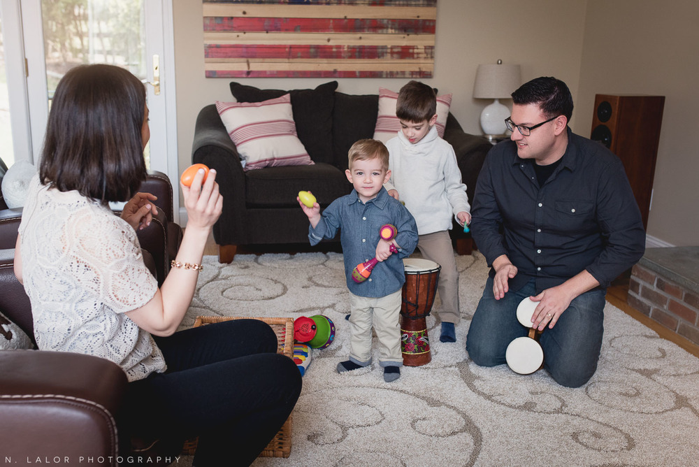 Family music time with two boys. Lifestyle family photo session by N. Lalor Photography.