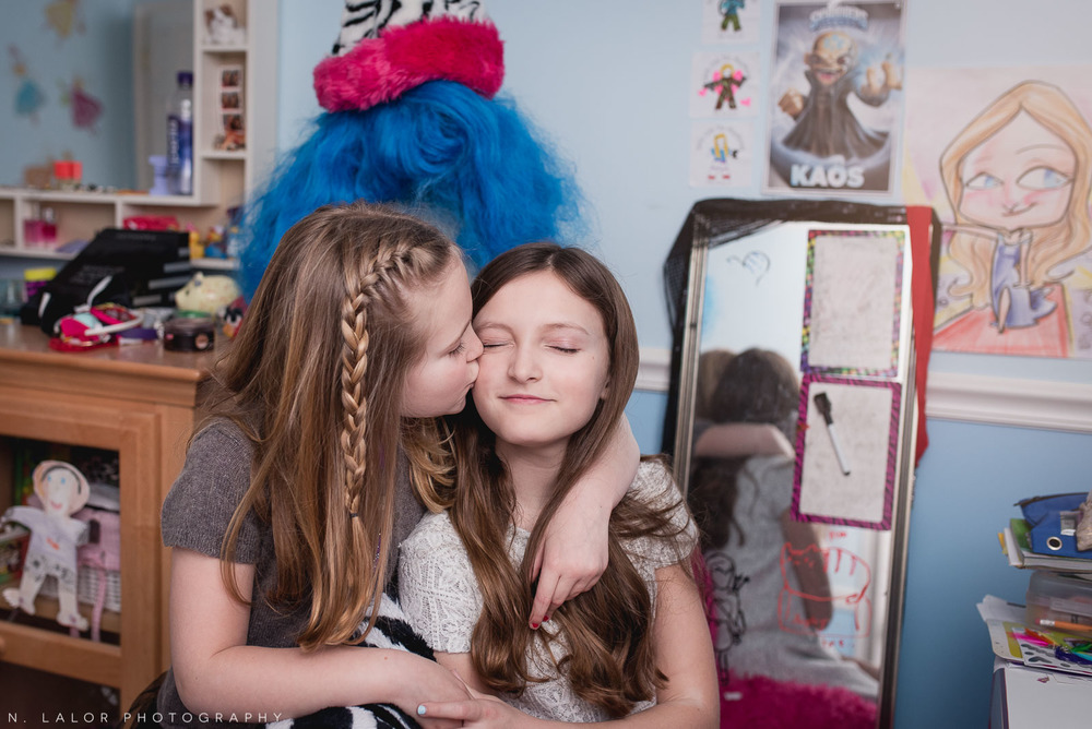 Sisterly love. Tween editorial-style photo session by N. Lalor Photography. Darien, CT.