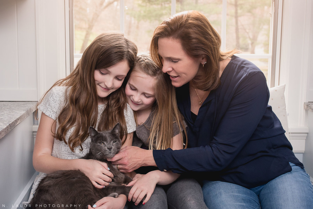 Mom and two daughters with the family cat. Editorial-style family session by N. Lalor Photography. Darien, Connecticut.