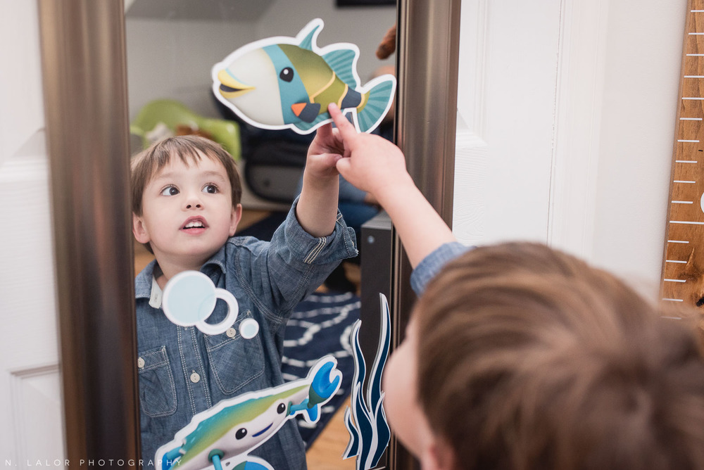 3-year old boy fascinated by sea animals. Lifestyle at-home portrait by N. Lalor Photography.