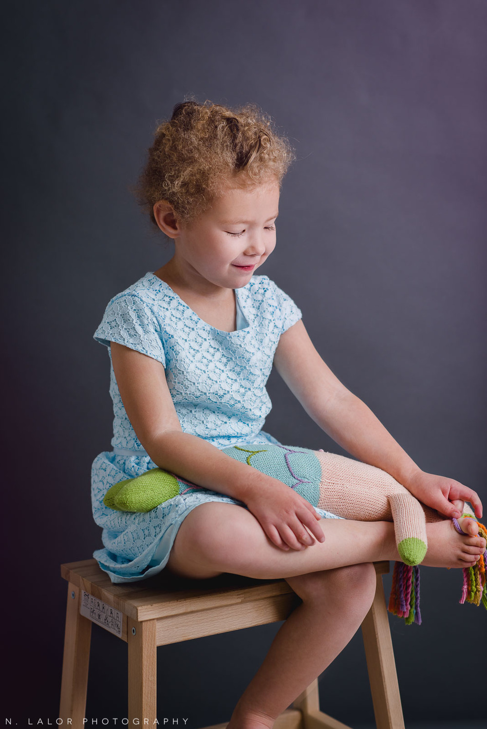 Editorial studio portrait of a 4-year old girl by N. Lalor Photography. Greenwich, CT.