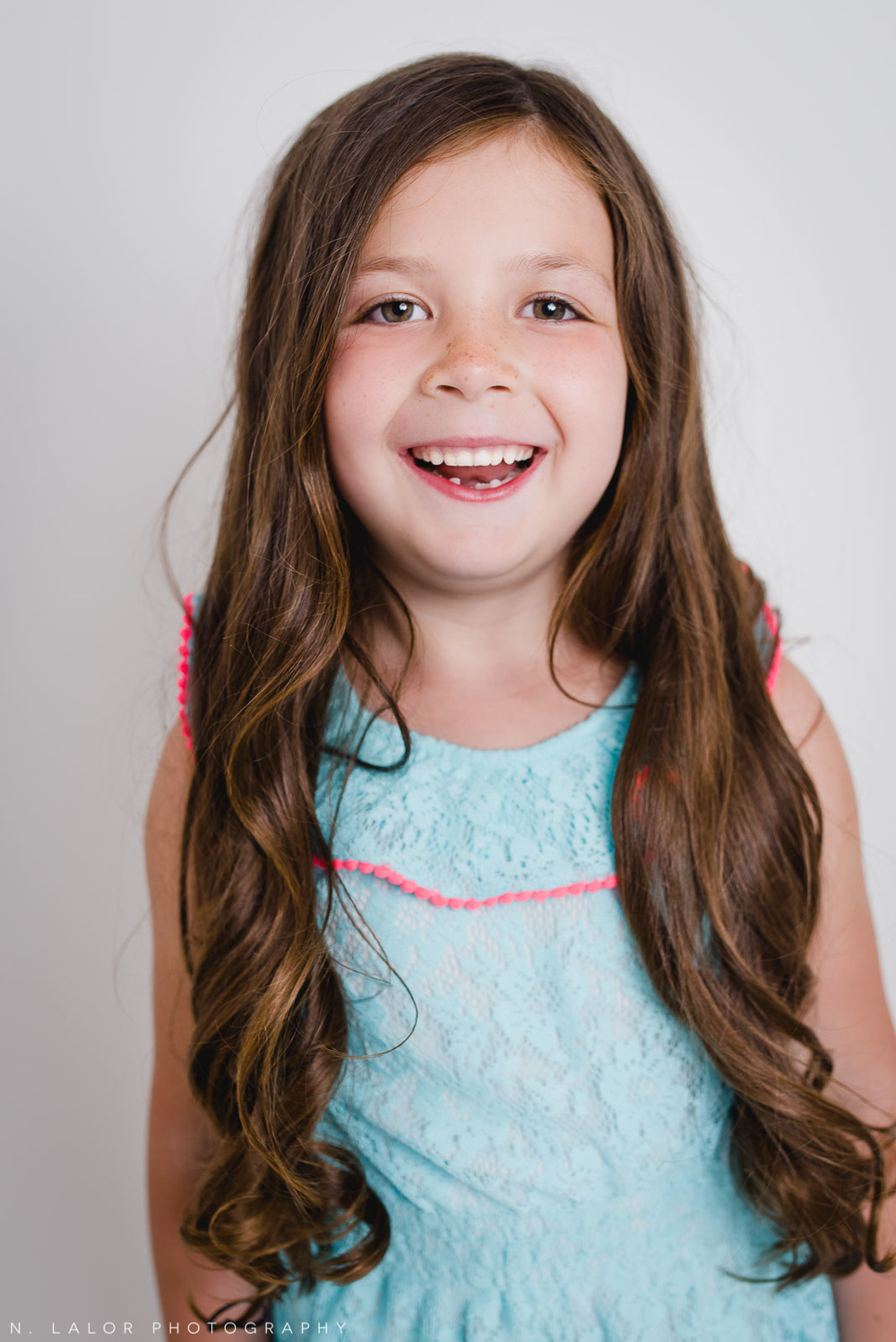 Studio portrait session with a 6-year old girl by N. Lalor Photography in Greenwich, CT.