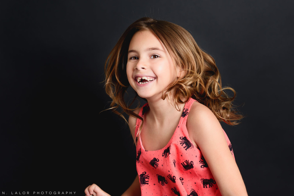 Editorial studio portrait of 6-year old girl by N. Lalor Photography in Greenwich, Connecticut.
