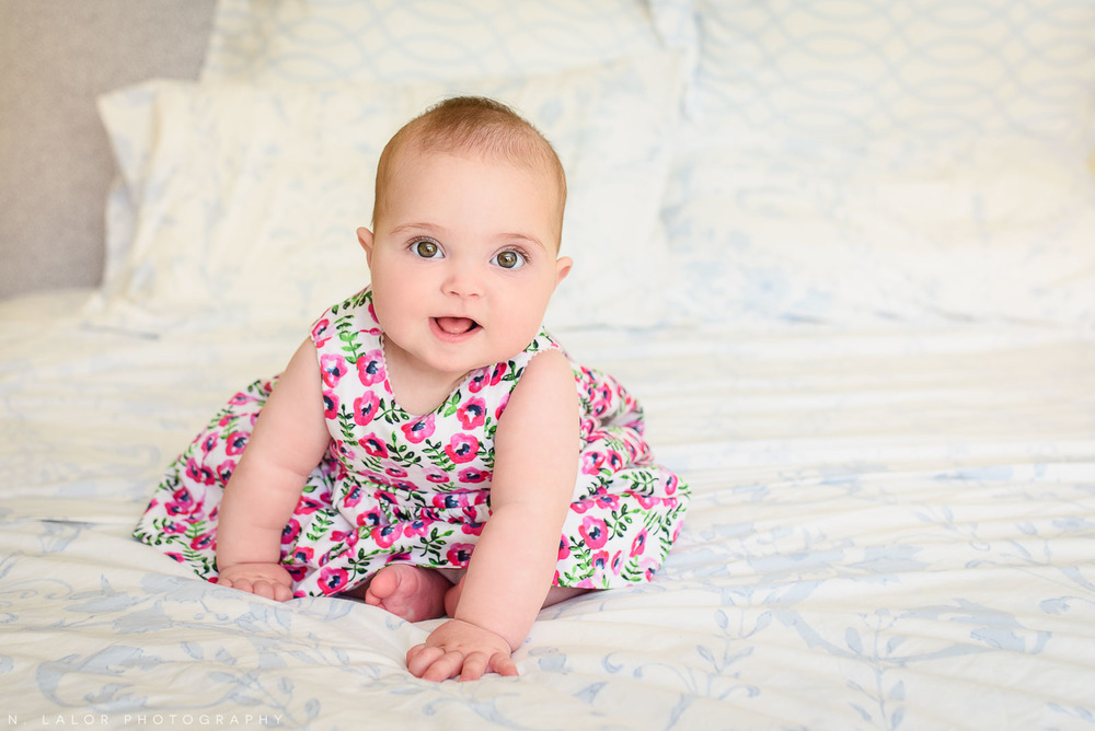 Simple and sweet portrait of a 6-month old baby girl. In-home family session with N. Lalor Photography in New Canaan, CT.