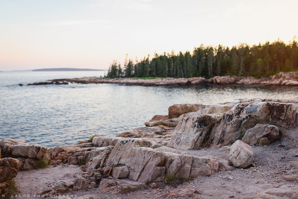 Gorgeous sunset on the trail by the shore. Acadia National Park in Bar Harbor Maine. Photo by N Lalor Photography.