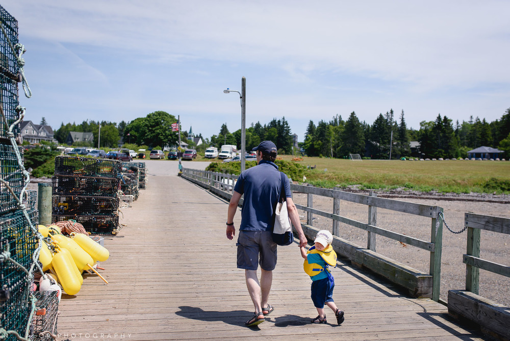 What walking with a toddler is like. Little Cranberry Island, Maine. Photo by N Lalor Photography.