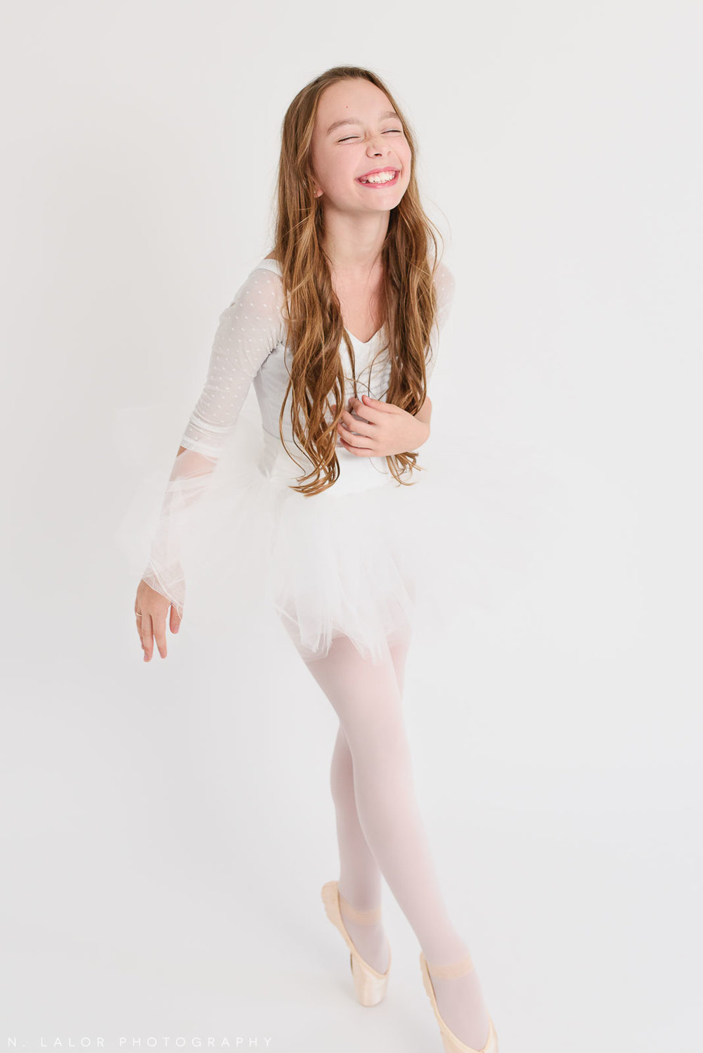 Having a blast. Tween ballerina photoshoot with N. Lalor Photography. Greenwich, Connecticut.