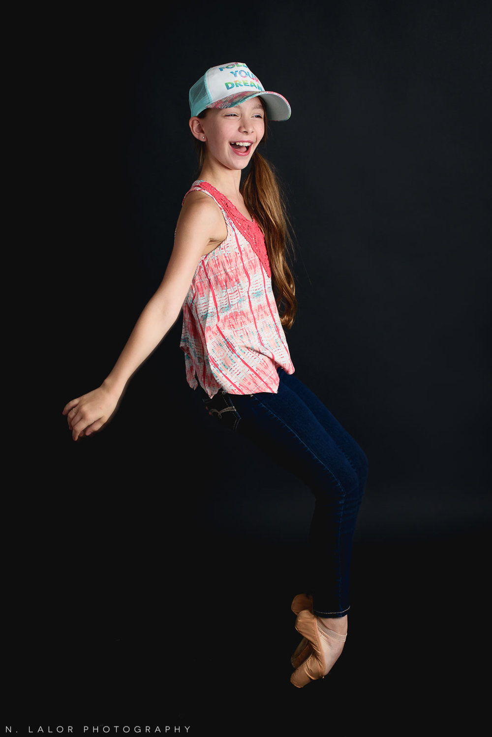 Having fun on pointe. Tween ballerina photoshoot with N. Lalor Photography. Greenwich, Connecticut.
