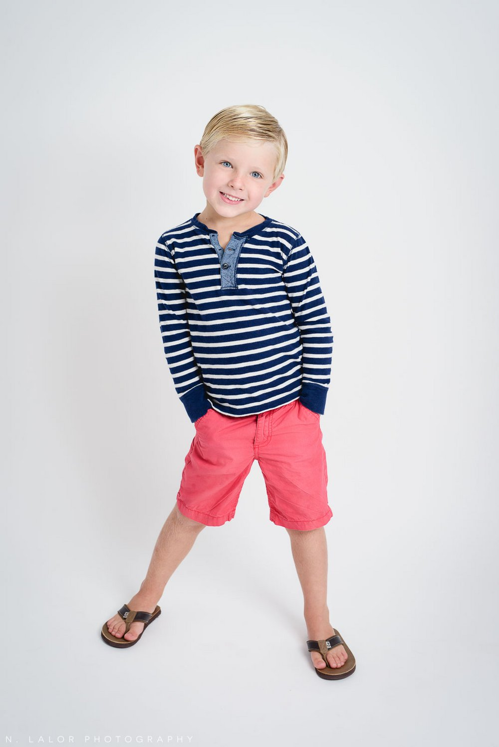 Striped shirt boy. Studio photoshoot with N. Lalor Photography in Greenwich, Connecticut.
