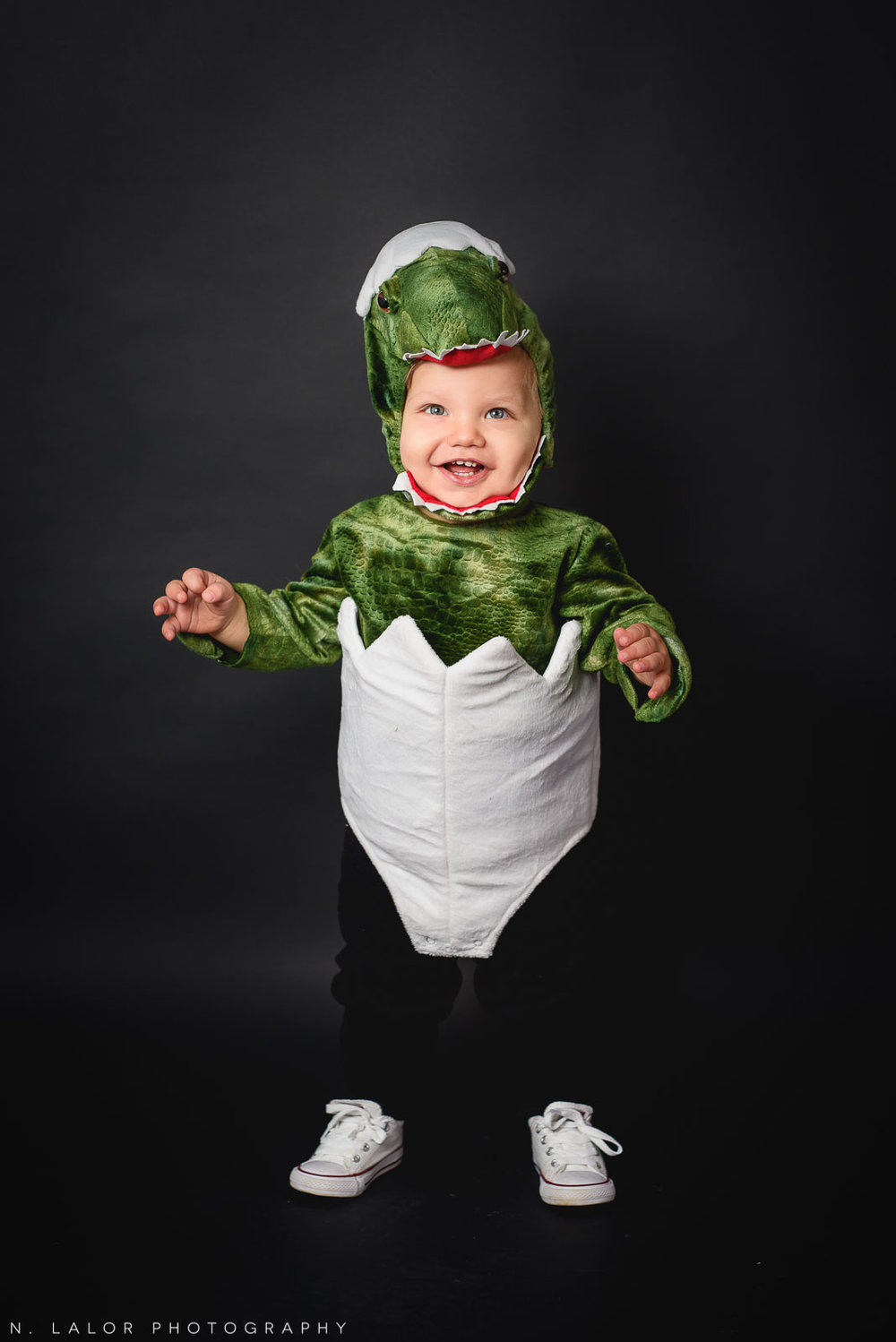 Baby dinosaur costume! Kids Halloween Portrait by N. Lalor Photography in Greenwich, Connecticut.