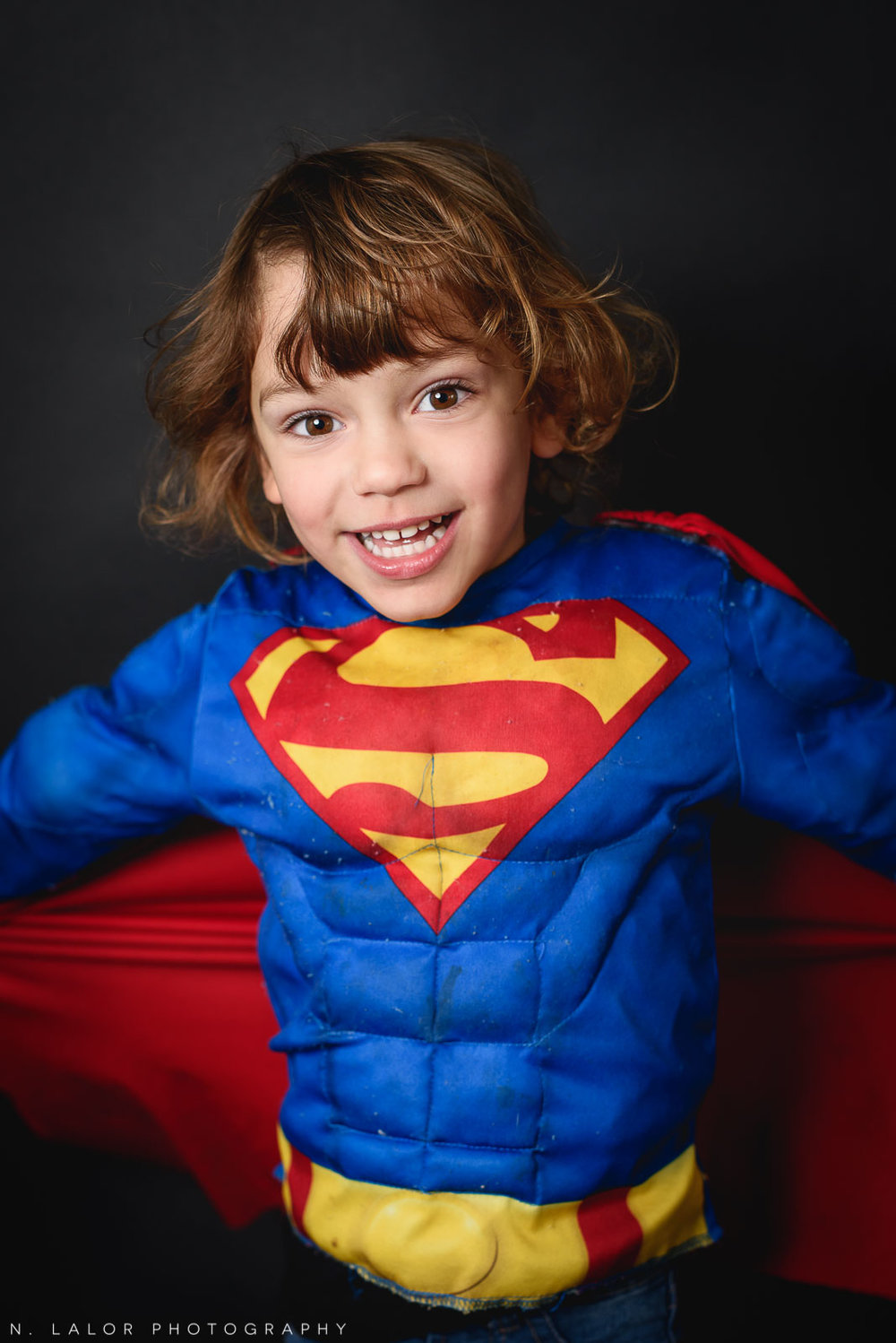 Superman! Kids Halloween Portrait by N. Lalor Photography in Greenwich, Connecticut.