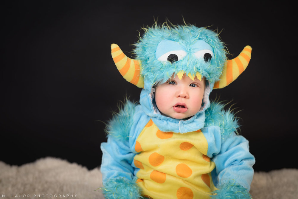 Little monster. Kids Halloween costume portrait by N. Lalor Photography in Greenwich, Connecticut.