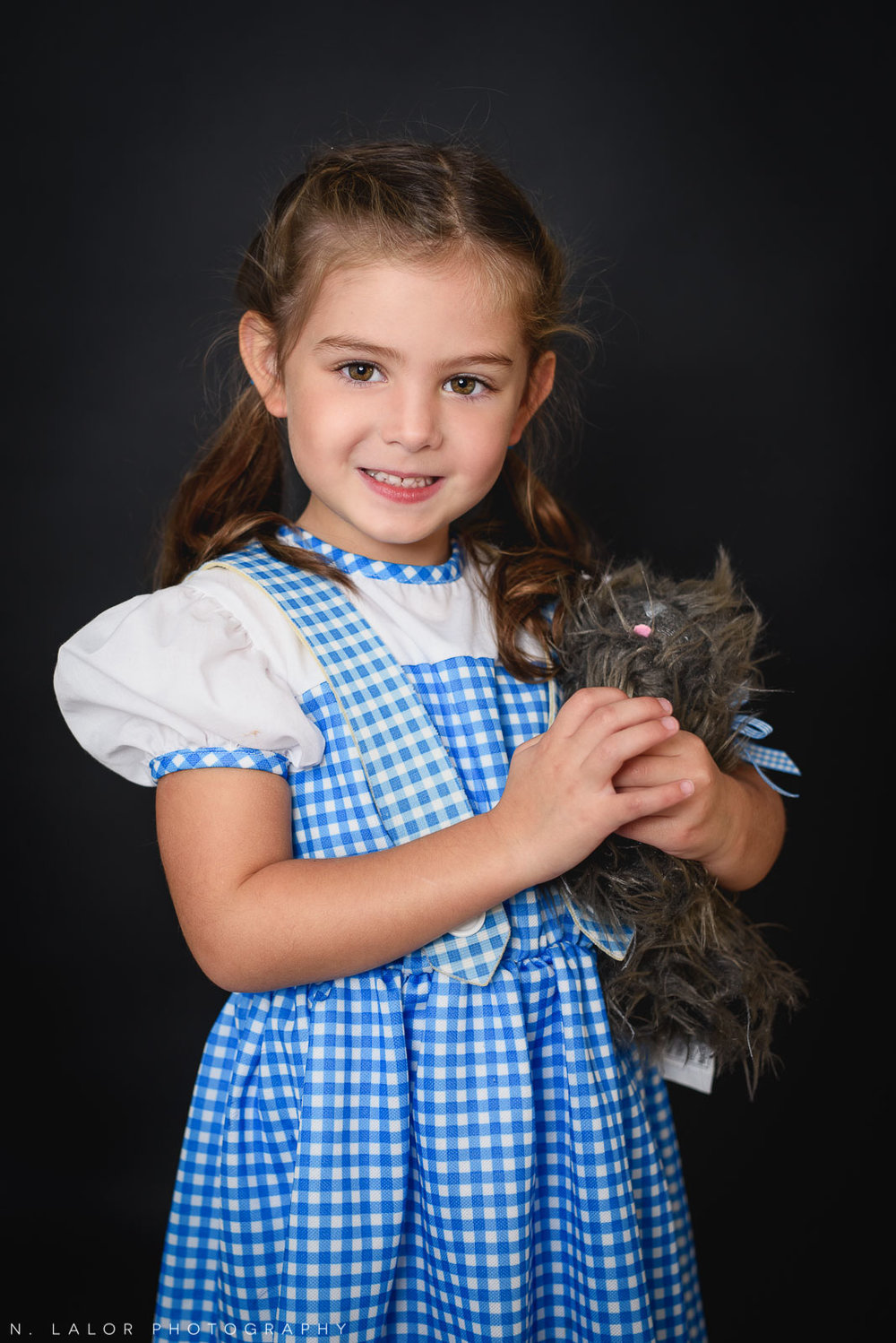 Dorothy. PJ Masks. Kids Halloween costume portrait by N. Lalor Photography in Greenwich, Connecticut.