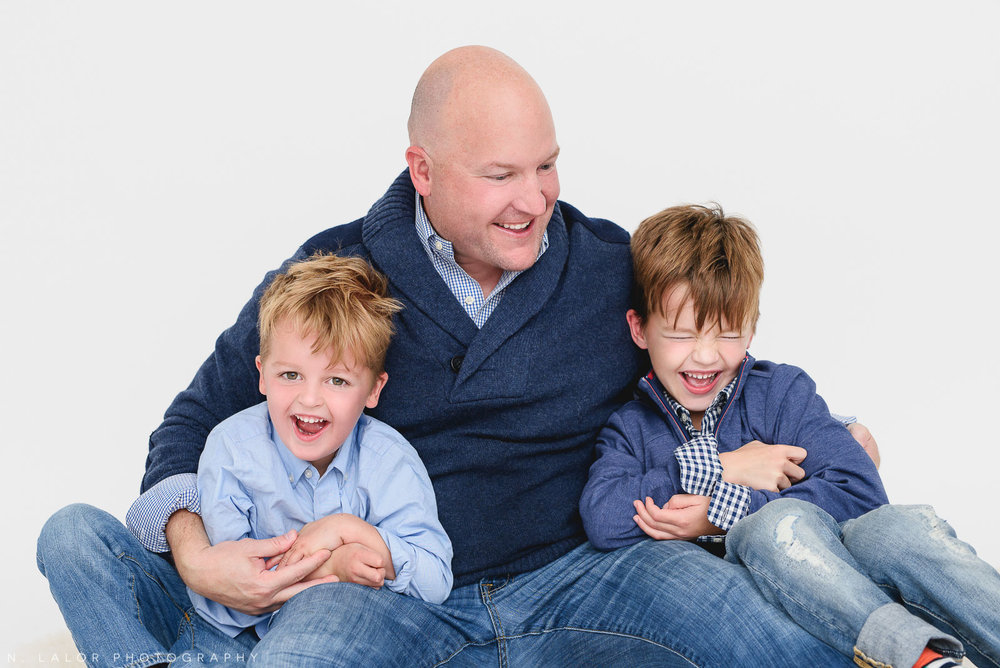 Dad and his boys. Studio photo session with N. Lalor Photography. Greenwich, Connecticut.