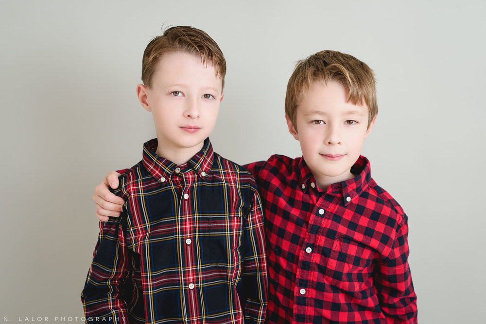 Brothers. Greenwich CT Kids Photo Studio Portraits by N. Lalor Photography