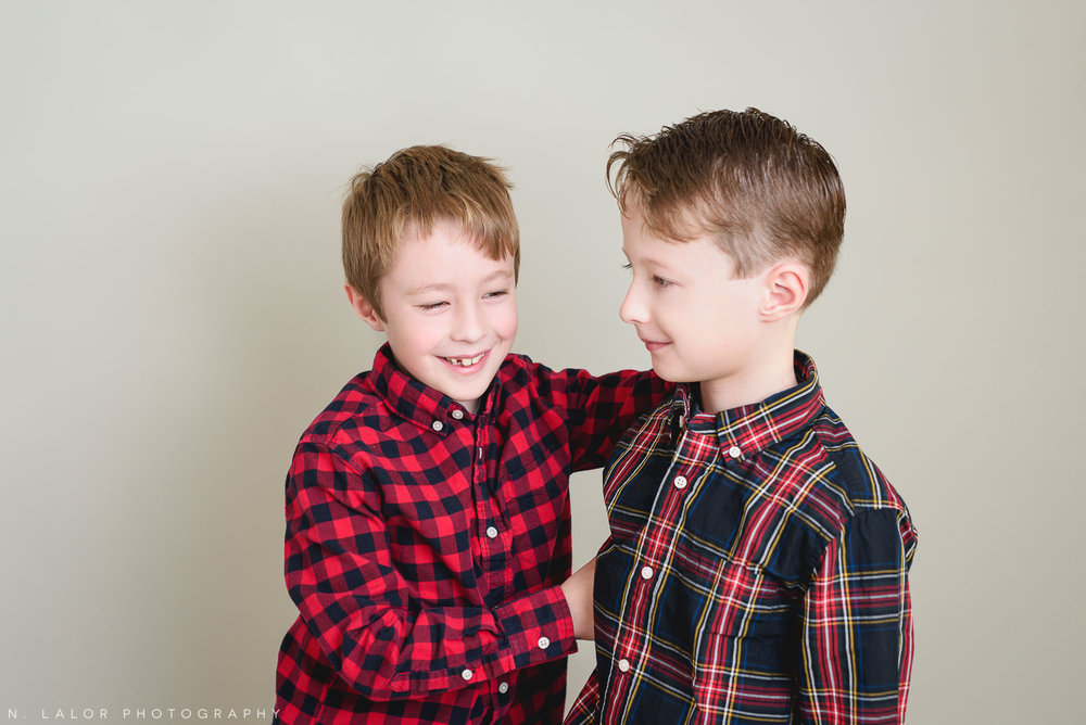 Twins. Greenwich CT Kids Photo Studio Portraits by N. Lalor Photography