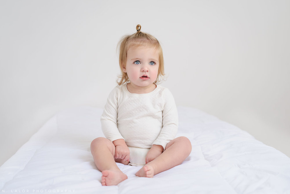 1 year old baby. Studio portrait by N. Lalor Photography, Greenwich CT family photographer.