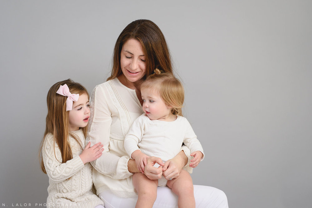 Mom and her two girls. Studio portrait by N. Lalor Photography, Greenwich CT family photographer.