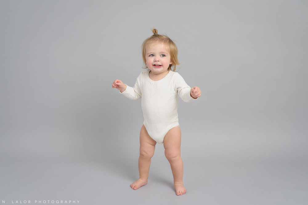 1 year old baby girl. Studio portrait by N. Lalor Photography, Greenwich CT family photographer.