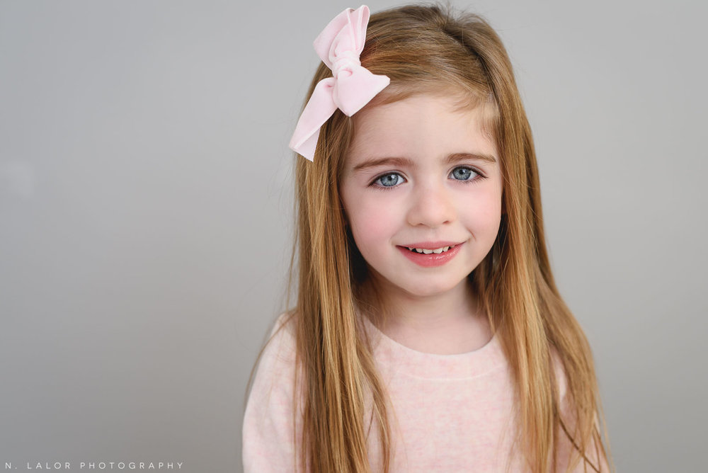 3 year old girl. Studio portrait by N. Lalor Photography, Greenwich CT family photographer.
