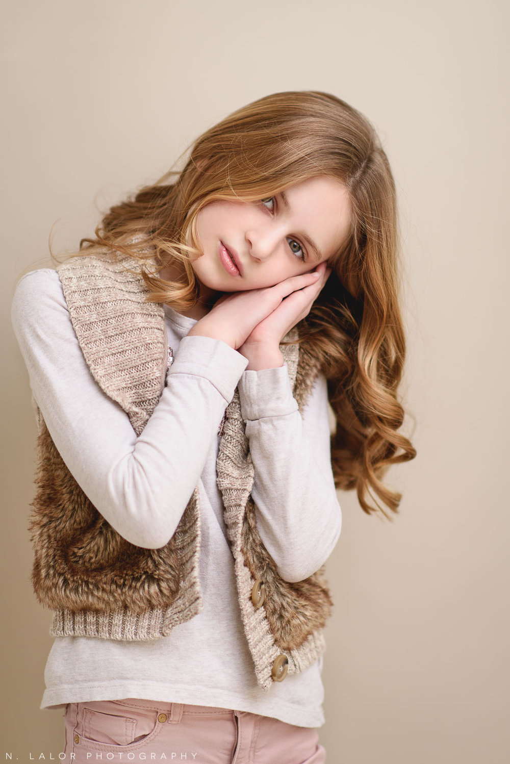 Grace. Tween Studio photoshoot by N. Lalor Photography, located in Greenwich, CT.