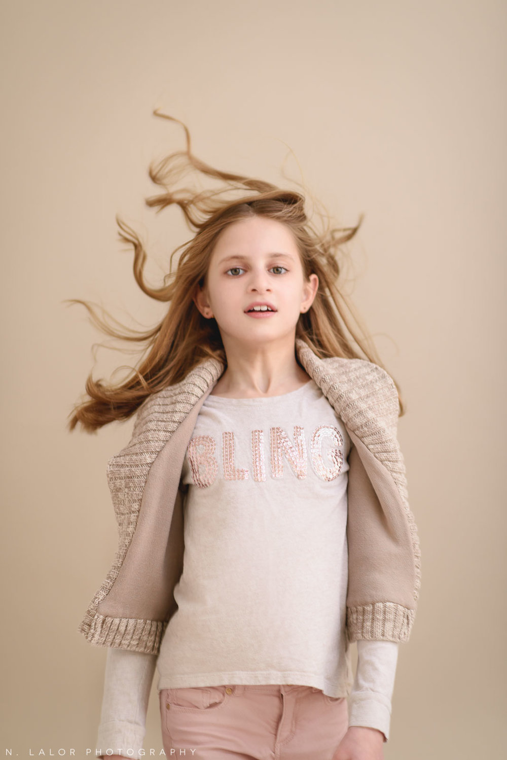 Hair and BLING. Tween Studio photoshoot by N. Lalor Photography, located in Greenwich, CT.