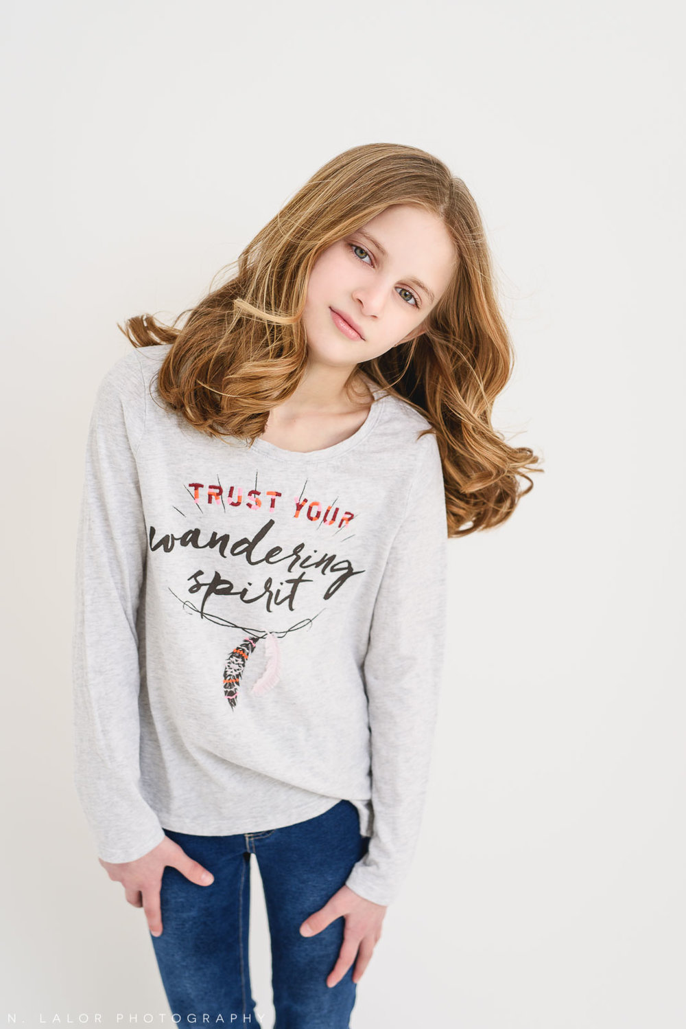 American girl Grace. Tween Studio photoshoot by N. Lalor Photography, located in Greenwich, CT.