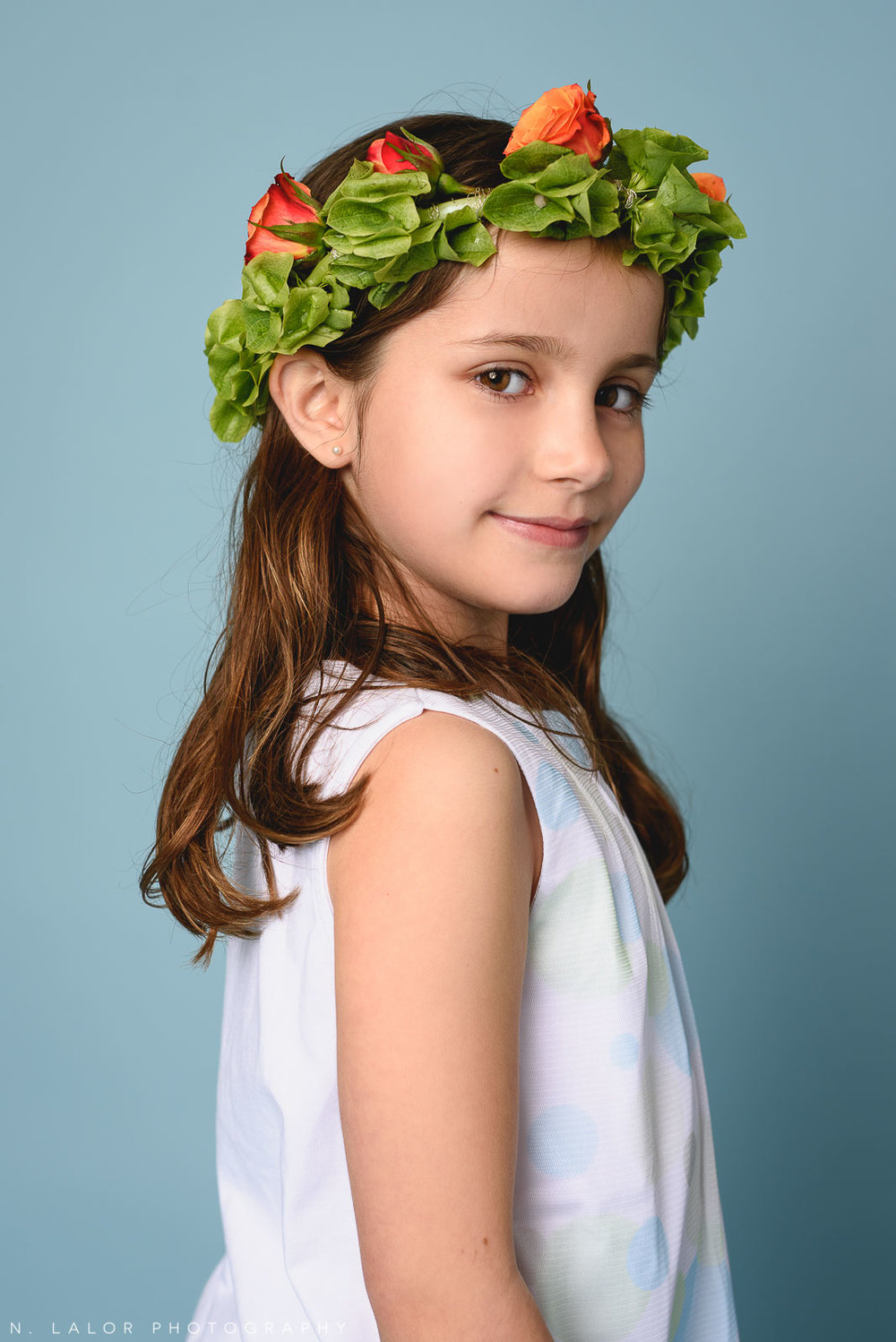Flower crown. Kids fashion portrait by N. Lalor Photography. New Canaan, Connecticut.