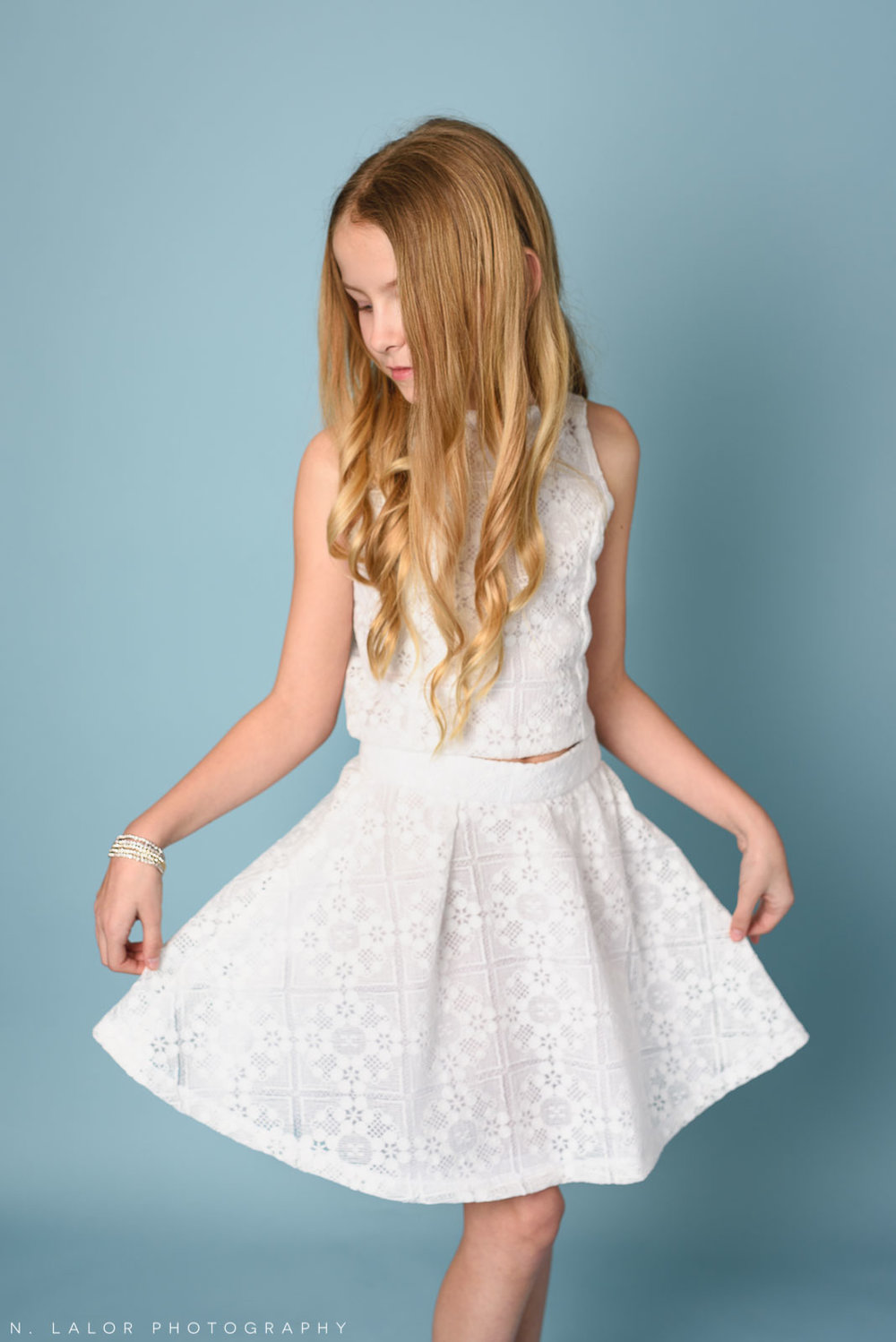 White Stella M'Lia dress. Kids fashion portrait by N. Lalor Photography. New Canaan, Connecticut.