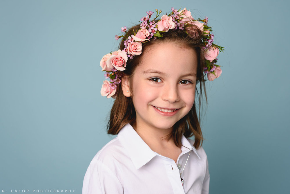 Pink rose flower crown. Kids fashion portrait by N. Lalor Photography. New Canaan, Connecticut.