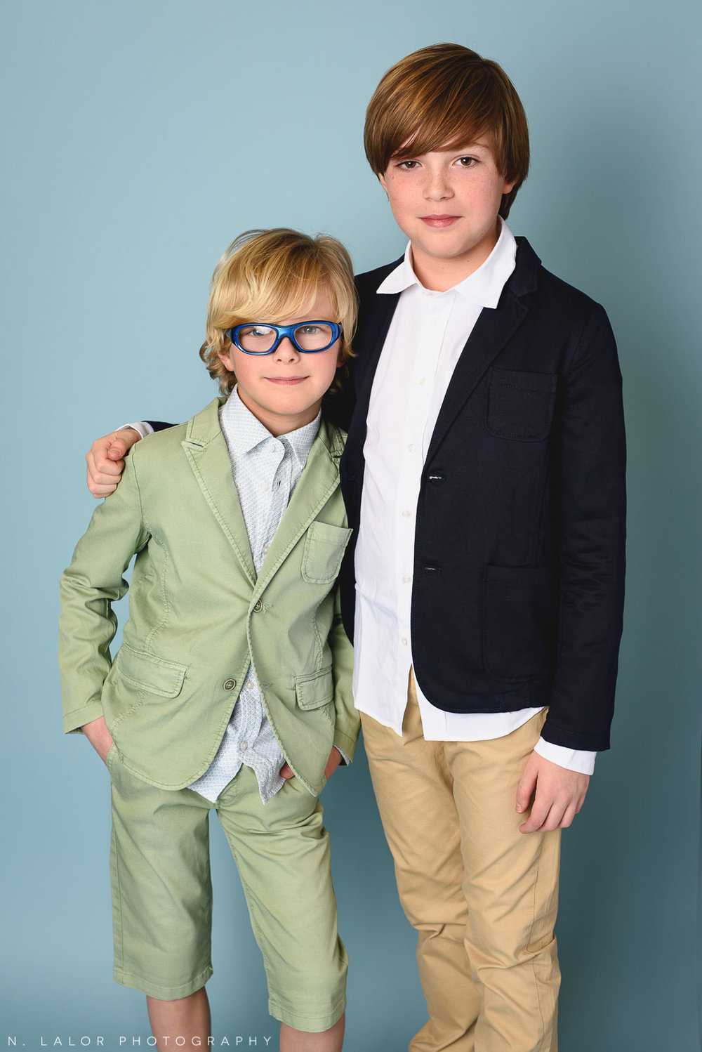 Brothers. Kids fashion portrait by N. Lalor Photography. New Canaan, Connecticut.