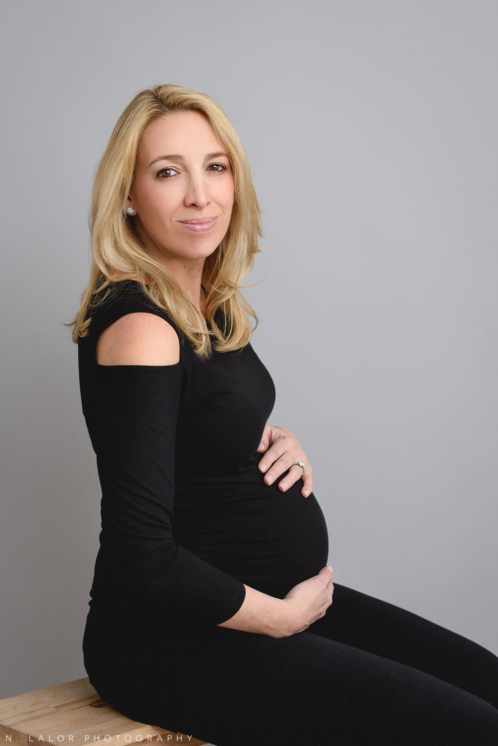 "Gorgeous, simple pregnancy portrait. Maternity ""Mom and Me"" photo session by N. Lalor Photography. Studio located in Greenwich Connecticut."