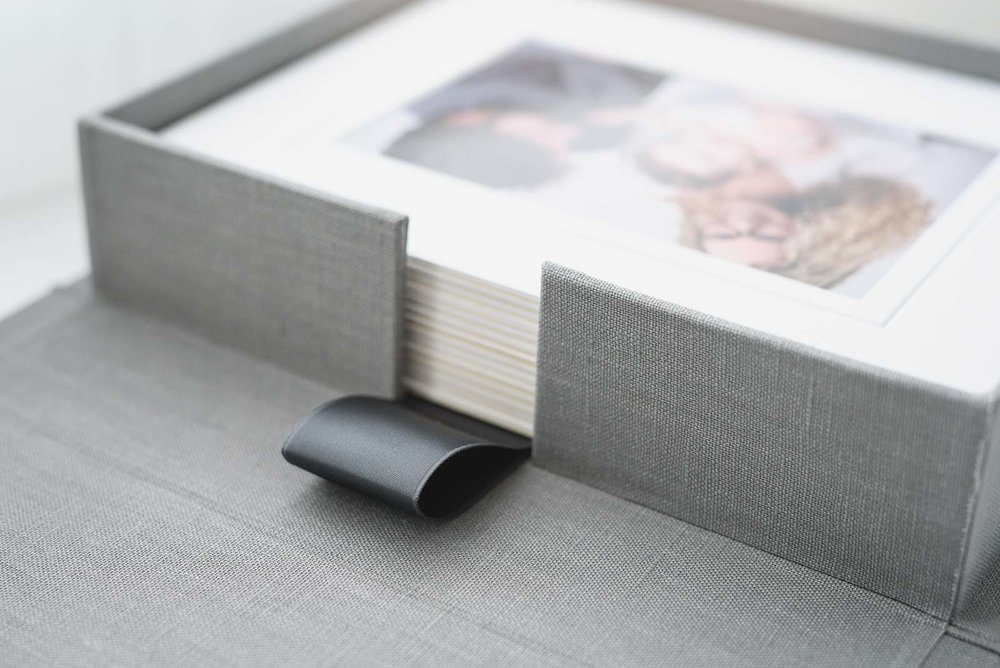 N. Lalor Photography print products - folio box ribbon detail.