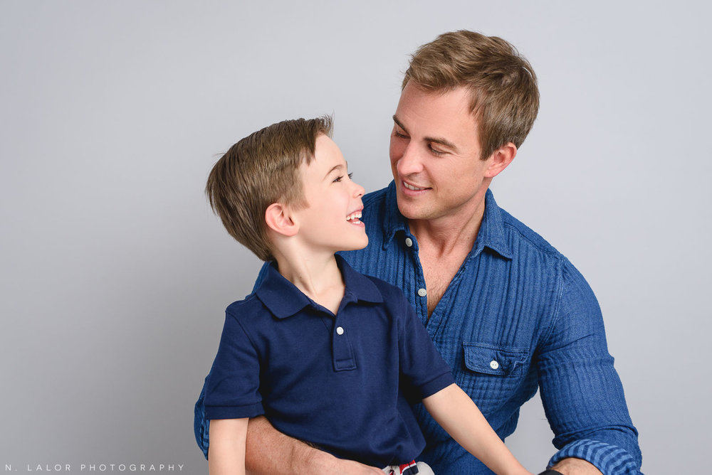 Dad and son. Studio family photoshoot with N. Lalor Photography in Riverside, Connecticut.