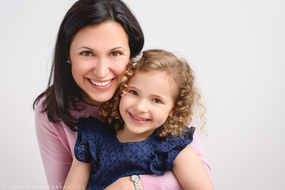 Mom and daughter. Studio family photo session with N. Lalor Photography in Greenwich, Connecticut.